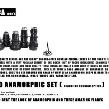 Rent Very well kept Lomo Anamorphic lens kit (35mm T 2.4, 50mm T.2.5, 75mm f2.6, 100mm T3.1, 150mm T3.1, 300mm T3.5)