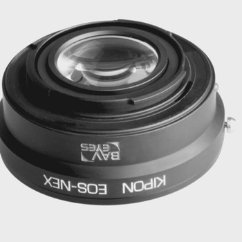 Rent Kipon Baveyes Lens Adapter from Canon EOS Lenses To Sony Nex Body - (0.7x Optic Adapter Focal Reducer)
