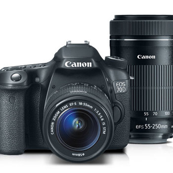 Rent Canon 70D with 18-55mm lens, 55-250mm lens, 3 batteries and charger