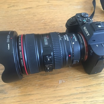 Rent Sony a7sii with Canon 24-105L lens and SD cards and batteries