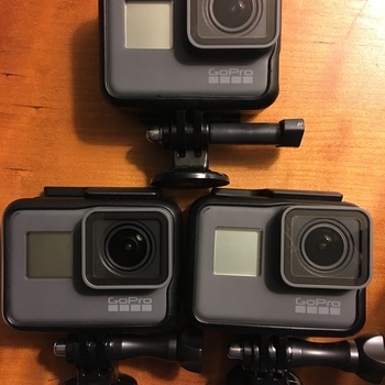 Rent 3 x GoPro  Hero 5 kit with high end media cards, long usb-c power cables and power bricks for all three cameras four hours of shooting. PLUS hgih end mounting rigs with suction cups etc..