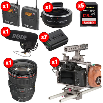 Rent Sony A7S II w/ Metabones, 24-105, shotgun, lav, Small HD 502 and more.