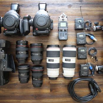 Rent Video production kit including cinema cameras, lenses, tripods, audio, etc.