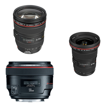 Rent Canon L Series Zooms and Prime 16-35, 24-105, 50