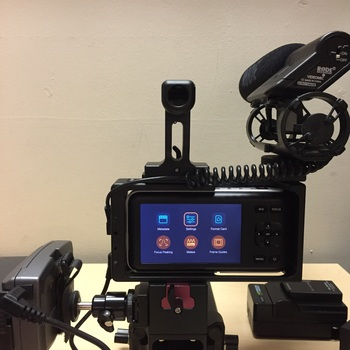 Rent Blackmagic PocketCinema Camera FULL Kit w/ lens, power, mic and cage.