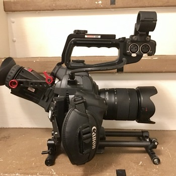 Rent Canon C100 with rails and Zacuto Zfinder