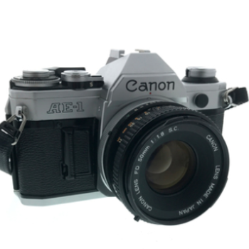 Rent Canon AE-1 35mm Film Camera with 50mm FD f/1.8 prime lens