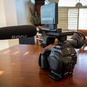 Rent Canon Cinema EOS C300 kit with 2x cards, 4 x batteries, Rode NTG3 shotgun mic and pelican case