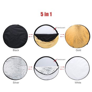 Rent TOMTOP 24-Inch 60cm 5 in 1(Gold, Silver, White, Black and Translucent) Portable Multi Disc Collapsible Light Reflector for Photography/Cinematography
