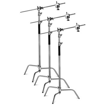 Rent 3x Stainless Steel C-Stands + Grip Arms - 10FT