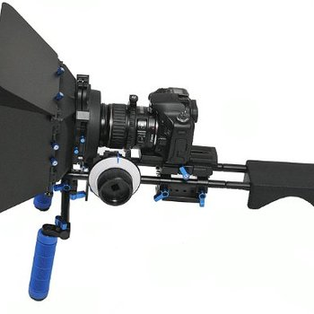 Rent DSLR Camera Shoulder Rig: Matte Box, 15mm Rod Rig, Follow focus, Whip and ND filters