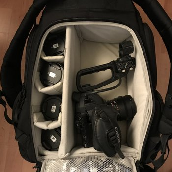 Rent C100, Shoulder Rig, Rokinon 5 Lens, Ninja Blade, Backpack