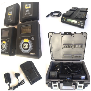 Rent 5 Gold Mount Batteries w Charger, V-Lock adapter & P-Tap box