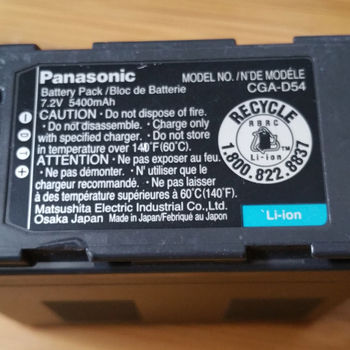 Rent Genuine Panasonic CGA-D54 5400mAh Lithium-ion High Capacity Battery for Panasonic HVX200, AG-AC90, DVX100B or similar camcorders.