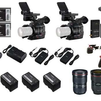 Rent 2x C300 Mark II | 4 Zoom Lens | Two Shoulder Rigs | Teradek Bolt 300 | Gold mount Batteries