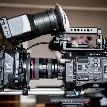 Rent Sony FS7 Package With Lens, Matte Box, Hand Grips, and Shoulder Mount