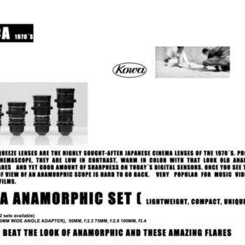 Rent Well-kept Kowa anamorphic lens kit (40, 50, 75mm, 100mm)