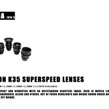 Rent Very well kept Canon K35 Superspeed Vintage lens kit - 18mm (T 1.5), 24, 35, 50, 85mm - T1.3