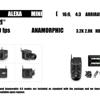 Rent Extremely well rigged Arri Alexa mini with Arriraw , 16:9, 3:4 Licenses