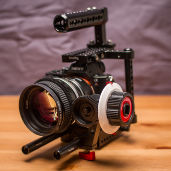 Rent Sony A7r II + Metabones EF Mount + Camera Cage w/ Rods and Follow Focus