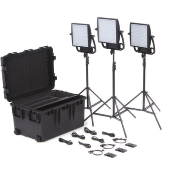 Rent 3x 1x1 Astra Bi-Color Litepanels w/ Softboxes + Stands