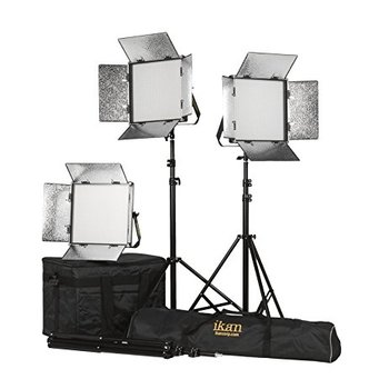 Rent set of 3 - iKan ID1000-v2 1000 led lights  1'x1' LED Studio Light Panels with Touch Screen Dimming Daylight Balanced 5600K 750 Watt Equivalent