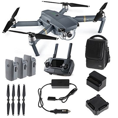 Dji mavic pro fly more combo foldable quadcopter drone kit with remote 3 batteries 16gb microsd charging hub car charger power bank adapter shoulder bag 0