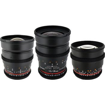 Rent Rokinon Cine DS EF-mount 5-lens set: 14mm, 24mm, 35mm, 50mm, 85mm