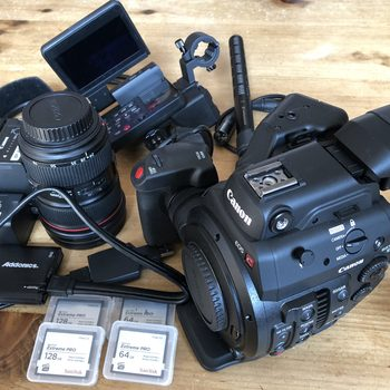 Rent CANON C300 MARK ll, Canon 24-70 zoom, shotgun mic, 4x cards, 3x batteries