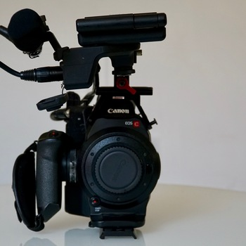 Rent Canon C300 Body Only with shotgun mic and zacuto handle.