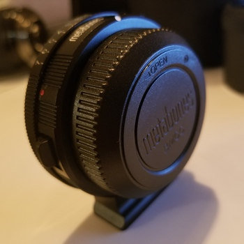 Rent Metabones  N/F BMPCC Speed booster to easily adapt lenses to your BMPCC