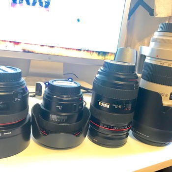 Rent Set of 4 Canon L Series Lenses (24mm f1.4 II, 50mm f1.2, 24-70mm f2.8 II, 70-200 f2.8 II - all w/ UV protectors)
