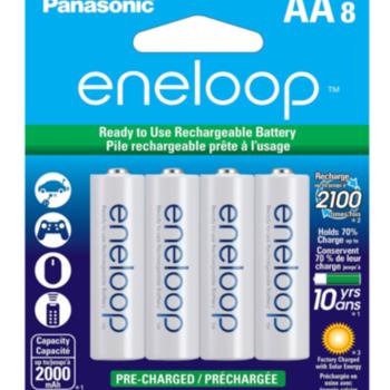 Rent Eneloop 8-Pack AA Rechargeable Batteries w/ Hard Case