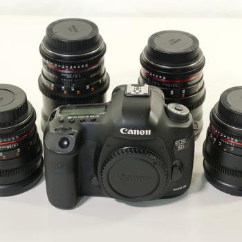 Rent Canon 5D Mark iii with Rokinon Cine Lens Kit w/Pelican Case