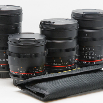 Rent Rokinon Cine Lens Set: 24mm T1.5, 35mm T1.5, 85mm T1.5, 135mm T2.2 with Filter Set.