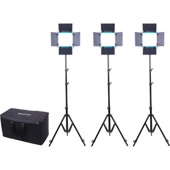 Rent Interview Lighting Kit - Dracast LED500 S-Series Bi-Color 3-Light Kit with V-Mount Battery Plates, Case and Upgraded Stands