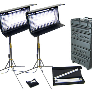 Rent Kino Flo Diva-Lite 400 Kit, daylight and tungsten bulbs, 2 x Flozier diffusers, 2 x basic stands, rolling case.