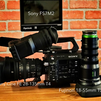 Rent Sony FS7 Mark 2 With multiple choices of Cine Lenses, Fujinon Mk18-55mm T2.9 - Sony FE 28-135mm Cine T4