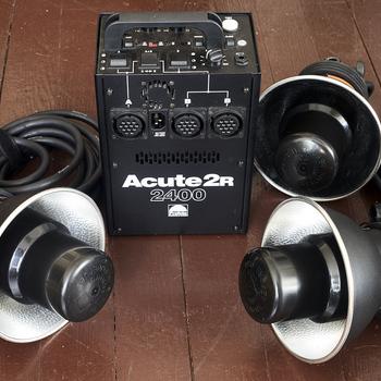 Rent Acute Profoto 2400 pack w/3 heads + medium softbox