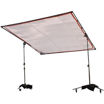 Rent 8' x 8'  Overhead Frame w/:  Claycoat, Black 2X Net, Black & White Silks