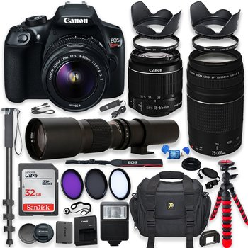 Rent Canon EOS Rebel T6 DSLR Camera with 18-55mm IS II Lens Bundle + Canon EF 75-300mm f/4-5.6 III Lens and 500mm Preset Lens + 32GB Memory + Filters + Monopod + Spider Tripod + Professional Bundle