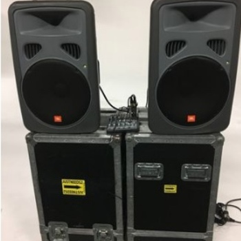 Rent Pair JBL EON 15P-1 Powered Speakers with Road Cases & Mixer