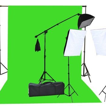 Rent Green Screen 9  x 20' Backdrop + 3 x Light Kit & Stands for greenscreen