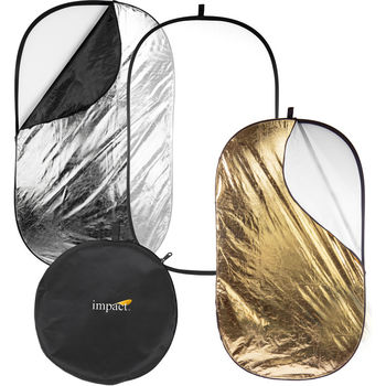 "Rent 5-in-1 Collapsible Oval Reflector (42 x 72"") + Light Stand and Reflector Holder"