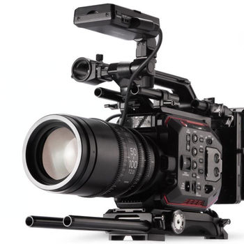 Rent Panasonic Eva1 w/ Tilta 15mm Baseplate, Extra batteries, V-mount adapter (EF MOUNT)