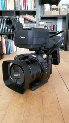 Canon xc15 with accessories mounted front