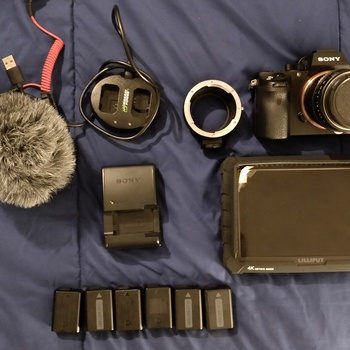 Rent Sony A7SII Doc kit with E-EF adapter, External Monitor, Monopod and Rode Mic