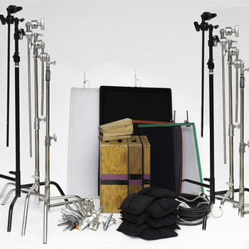 Rent G&E package: c-stands, light stands, sandbags, flags, stingers, more