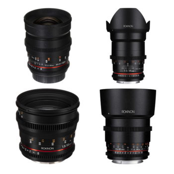 Rent Rokinon Cine DS Prime Lens Set for Canon EF *can supply Metabones and use with Sony E-Mount