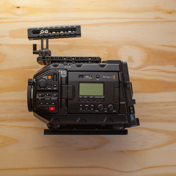 Rent Blackmagic Ursa Mini Pro 4.6K EF and PL mount digital cinema camera plus SmallRig cage